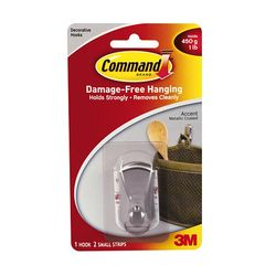 3M 17072BN Command Accent Hook Small Brushed Nickel - Micro Parts & Supplies, Inc.