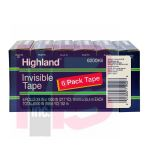 3M Highland Invisible Tape  6200K6 3/4 in x 1000 in (19 mm x 25.4 m) 6 Pack