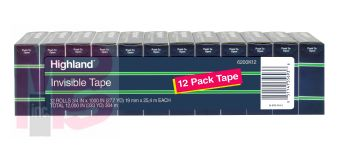 3M Highland Invisible Tape 6200K12  3/4 in x 1000 in (19 mm x 25.4 m) 12 Pack