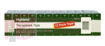 3M Highland Transparent Tape 5910K12  3/4 in x 1000 in (19 mm x 25.4 m) 12 Pack